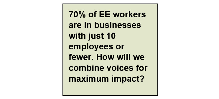 Most Energy Efficiency workers are in small businesses