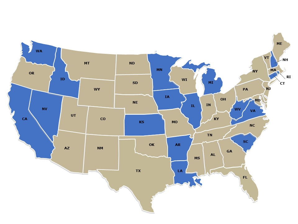 US map with National Standard Practice Manual states highlighted