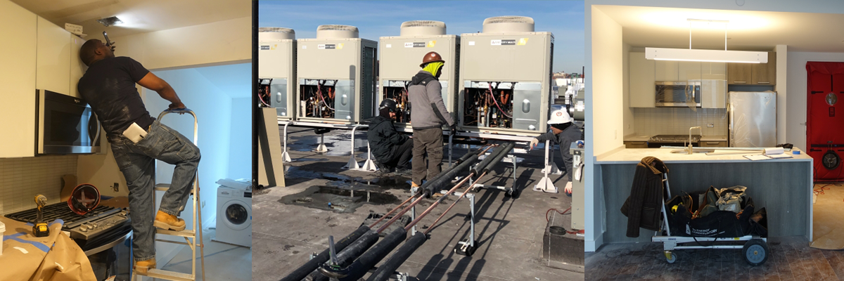 Energy efficiency sector workers on the job to improve building performance