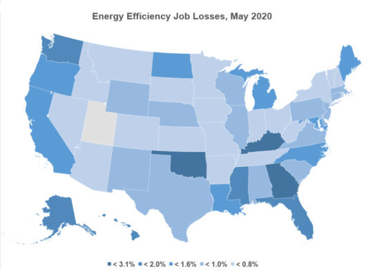 Energy efficiency jobs lost in May 2020 USA map